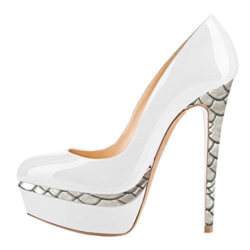 AOOAR Damen Plateau Stiletto Abendschuhe Weiß und Silber fishskin Lackleder Pumps EU 38 (14 Heel Spike Schuh)