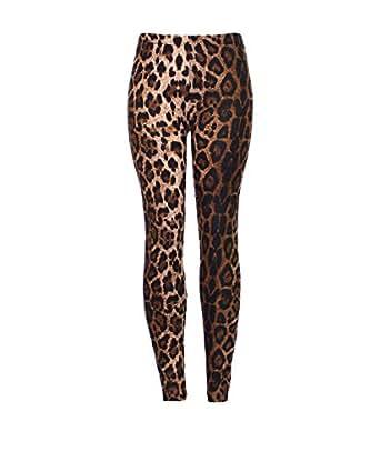 Brown Leopard Print Leggings Ladies Size 8-14 UK (S/M (8-10) UK)