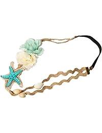 Guirui Jewelry Moda Mujeres Diadema con Concha de Bebé Estrella de Mar - Cuerda de Cáñamo For de Plástico Banda para Cabello