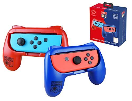 Pack de 2 poignées de confort ergonomiques pour manette Joy Con Nintendo Switch - Droit/Gauche - OL Olympique Lyonnais