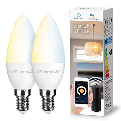 LE 4.5W Smart E14 LED Lampen Warmweiß und Kaltweiß, Dimmbar LED Leuchtmittel, Kerzen, Wlan LED Birnen, Ersatz für 40W Glühbirne, kompatibel mit Alexa und Google Home, Kein Gateway erforderlich, 2 Pack