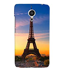 Fuson Plastic Printed Effel Tower Back Case Cover for Meizu MX5-D9756