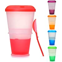 Muesli To Go –Taza para Cereales/Granola con Compartimento Refrigerado para Leche o Yogur y Cuchara – Térmica – para Viajes– Color: Rojo