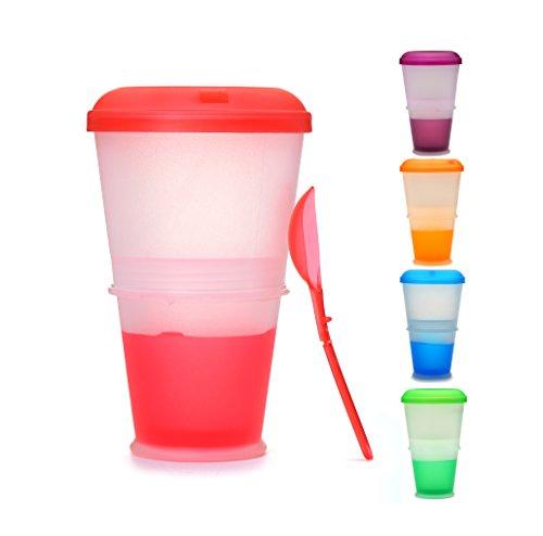 Muesli to Go - Tazza Termica per Cereali da Viaggio, con Scomparto Refrigerante per Yogurt/Latte e Cucchiaio Incluso. Colore: Rosso.