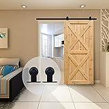 6.6FT/201cm Sliding Barn Wood Door Hardware Closet Track Kit Single door -Portes...