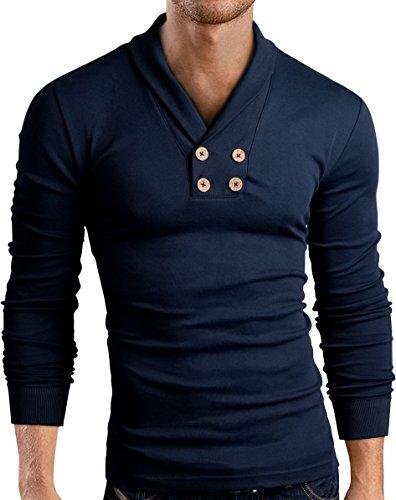 Grin&Bear Slim Fit Schal V Kragen Shirt, langarm, navy, XXL, BH115 (Shirt Herren Xxl Kragen)