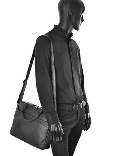 Sacoche Porte-documents avec bandoulière homme en cuir Etrier Spider - 2 compartiments - Peut contenir un ordinateur portable 15 pouces Noir