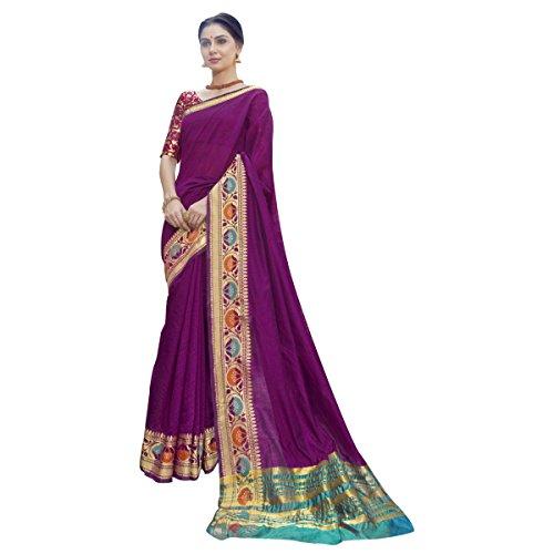 Triveni Damen Indisch Violet Wove Blended Cotto Festival Saree Mit ungeschnittener Bluse (Peach Rock Anzug)