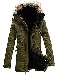 SODIAL (R) Hombre Nueva invierno de calido anorak de vellon acorazado zanja Bolso de viaje abrigo chaqueta MFb13 Verde del ejercito - L