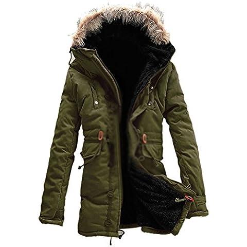 SODIAL (R) Hombre Nueva invierno de calido anorak de vellon acorazado zanja Bolso de viaje abrigo chaqueta MFb13 Verde del ejercito -