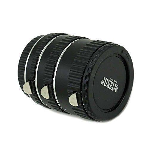 JUNELIO-marque française Auto-focus Bagues allonges macro automatiques tube extension pour tous les boîtiers Canon EOS + objectifs Canon EF ou EF-S , Contacts en cuivre plaqué or - PAS de jeu à l'usage