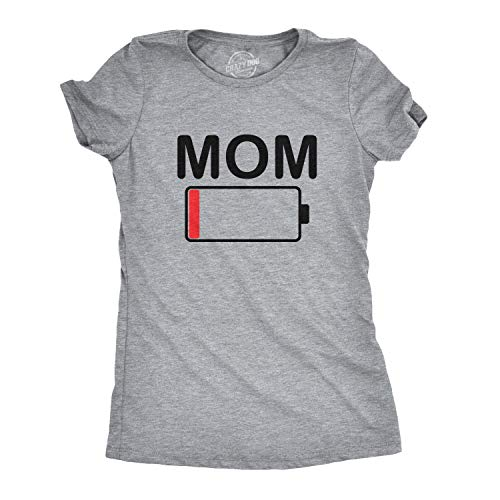 11ec6c0c4 Crazy Dog Tshirts - Womens Mom Battery Low Funny Empty Tired Parenting  Mother T Shirt (