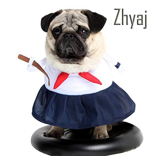 Kostüm Stehend Hunde - Zhyaj Halloween-Kostüme für Hunde Verwandeltes Kleid Matrosenanzug Stehend Studentenuniform,M