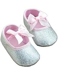Koly Zapatos primeros pasos para bebé-niñas, pasos niñas, Anti-slip zapatos de bebé de brillo (S, Plata)