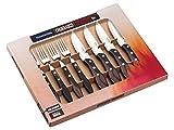 Tramontina Churrasco Premium Large Jumbo Steak Knife Fork Set 8 Piece with Brown Wooden Handles