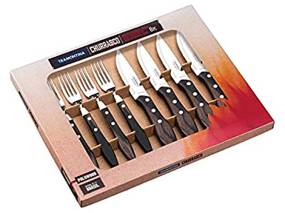 Tramontina Churrasco Premium Large Jumbo Steak Knife Fork Set 8 Piece with Brown Wooden Handles