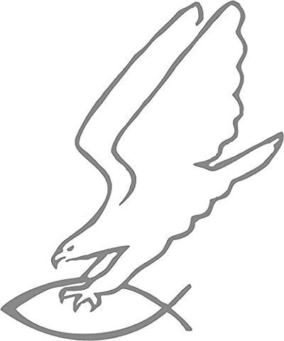 Autoaufkleber - Adler greift Fisch (Silber)