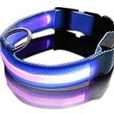 flyyfree New Pink Nylon LED Hund Nacht Sicherheit Halsband Blinklicht bis W/Circular Anhänger Halsband Größe: S: 35–43cm Breite: 2,5cm