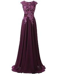 Clearbridal Damen Chiffon Lange Ballkleider Abschusskleider Abendkleider mit Applikation CSD181