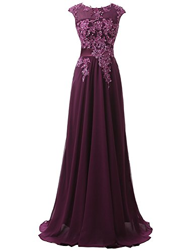 Clearbridal Damen Chiffon Lange Ballkleider Abschusskleider Abendkleider mit Applikation CSD181 Violett Gr.EU36