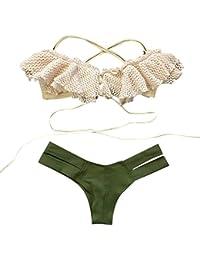 Conjunto de bikini Vovotrade Traje de baño para mujer Push-Up Bra acolchado