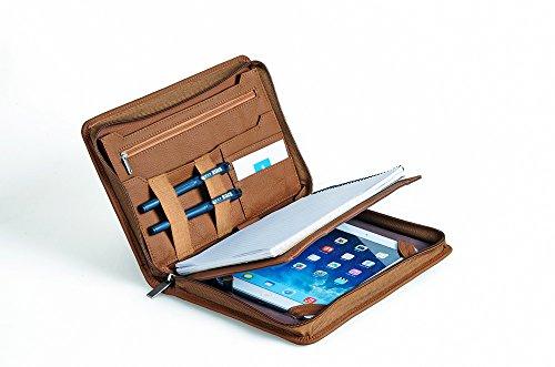 Kompakte professionelle Leder Organizer Schreibmappe für iPad Mini 4, A5 Papier,braun (Padfolio Case Für Ipad 4)