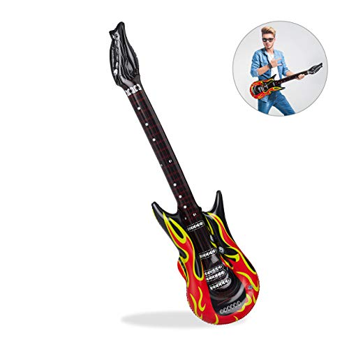 Relaxdays- Guitarra Hinchable Rock, Color rojo/negro, 95 cm (10024257)