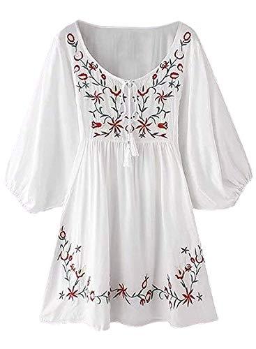 FUTURINO Damen Sommerkleid Bohemian Stickerei Floral Tunika Shirt Bluse Flowy Minikleid (XL, 03 Weiße) (Hippie Tunika Shirt)