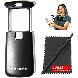 EasY Magnifier- Lupa de 3x con luz LED clara; Lupa pequeña de luz con lente de vidrio acrílico rectangular, lupa iluminada para leer textos pequeños, lupa de mano, regalo ideal como ayuda visual