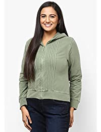 GRAIN Olive Green Regular fit Solid Plain Autumn Cotton Jackets for Women