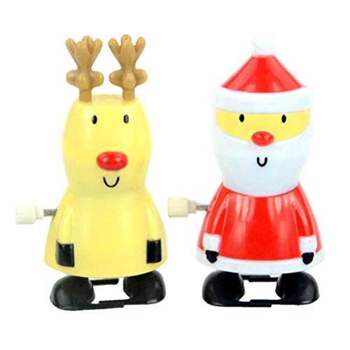 Toyvian 2 stücke Weihnachten Wind Up Spielzeug Weihnachtsmann Rentier Wind up Stocking Stuffers Weihnachten Party Favors für Kinder (zufällige Farbe)