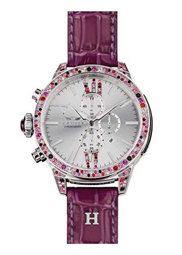 HÆMMER Purple Damenuhr aus Edelstahl | Limitierte Damen Uhr mit Kalbslederarmband in Lila | Luxusuhr mit bunten Swarovski-Kristallen