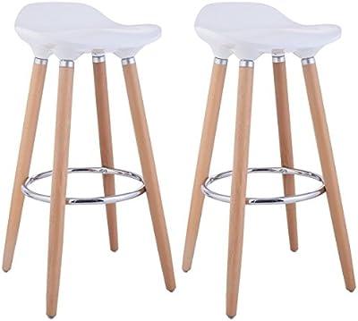 FurnitureR silla de bar Juego de 2silla de estilo moderno bar contador de taburetes cocina desayuno taburete de Bar con patas de madera