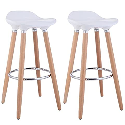 FurnitureR Set of 2 Bar Chair Modern Style Bar Stools Counter Chair Kitchen Breakfast Barstool with Wooden Legs White