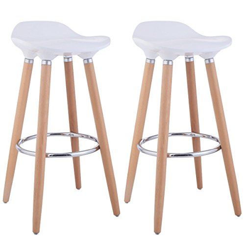Taburetes, de FurnitureR, diseño moderno, ideal para bar o cocina, con patas de madera, 2unidades, madera, Blanco, 2 PC