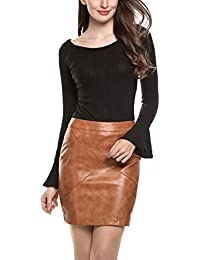 aa5681af451e37 Finejo Damen Winter Herbst Klassische hoch taillierte Faux Leather Bodycon  Mini Rock Figurbetont Stretch Bleistiftrock Kurz