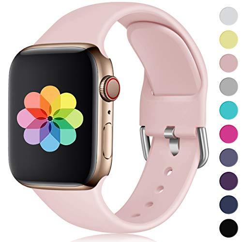 HUMENN Kompatibel mit Apple Watch Armband 38mm 40mm 42mm 44mm, Weiches Silikon Klassisch Sport Ersatzband für iWatch Series 4,3,2,1, 38mm/40mm-S/M Sand Rosa -