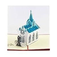 BC Worldwide Ltd handmade origami 3D popup pop up church card.Wedding card invitation,bride groom,marriage,anniversary,gift,greeting card,Valentine