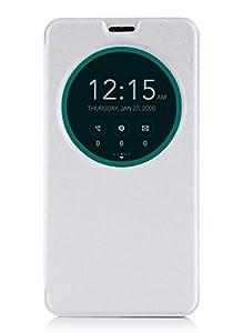 ISIN Housse pour Téléphones Portables Série Étui Premium PU pour ASUS Zenfone 2 ZE551ML ZE550ML de 5.5 pouces Full HD Android Smartphone (Blanc)