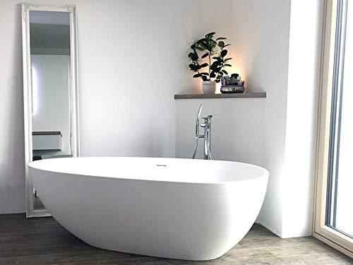 Freistehende Badewanne Mineralguss - oval weiß - inkl. Ablaufventil & Siphon - 169x85 - M