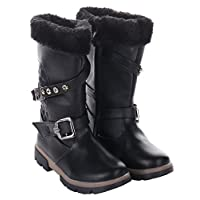 Girls Black Faux Fur Winter Boots Knee Length Warm Comfortable School Boot with Grip Sole