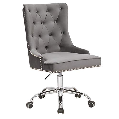 Riess Ambiente Design Bürostuhl Victorian SAMT Silbergrau mit Armlehne Stuhl höhenverstellbar mit Leichtlaufrollen