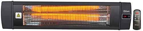 Karbon Heizstrahler | Terrassenstrahler | Heizgerät | Infrarotstrahler | Carbonstrahler | 2000 Watt | Display | Karbonlampe | Timer | Fernbedienung | Spritzwasser geschützt | Überhitzungsschutz | 10.000 Stunden |
