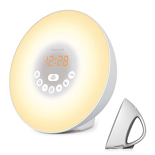 Wake-Up-Light-Sunrise-Alarm-Clock-with-Smart-Snooze-Function-Nature-Sounds-FM-Radio-Touch-Control-with-USB-Charger