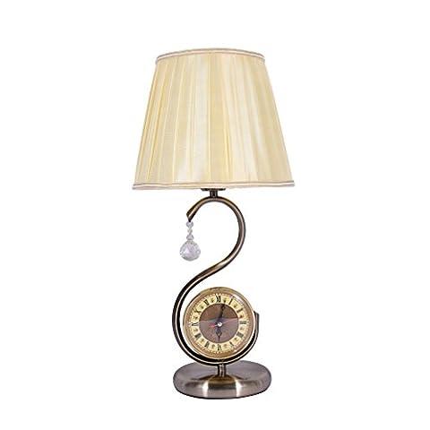 Wshfor lampe de table de style européen,chevet lampe de table, Lampe européenne,Rétro simple,(Avec montre)Séjour /salon /lampe de table E27