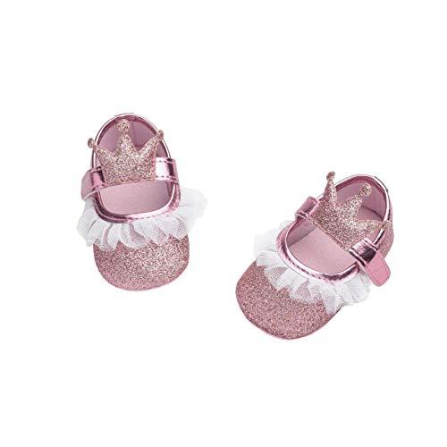 en Prinzessin Schuhe Kleinkind Schöne Krone Spitze Weiche Sohle Rutschfeste Kunstleder Mode Lässig Geeignet für 6-18 Monate Klettverschluss ()