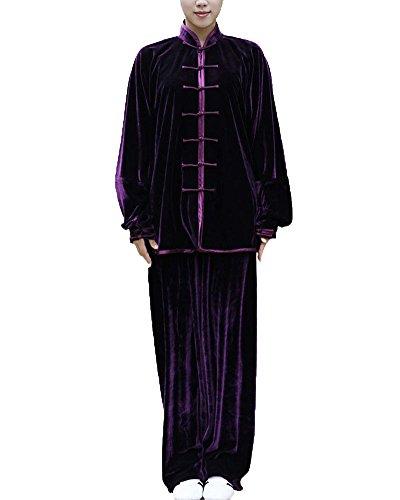 Unisex Kung Fu Uniform Traditionelle Tai Chi Uniform Kampfkunst Kleidung Wushu Anzug Trainingsanzug Tops Und Hose Violett S