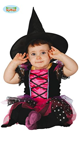 Süße kleine Hexe Karneval Halloween Party Baby Kostüm Sterne pink Gr. 74 - 92, - Karneval Kostüm Babys