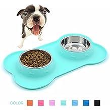 SuperDesign de acero inoxidable de alimentos de agua Bowls en antideslizante y no Spill Silicona Mat, para perros pequeños o gatos