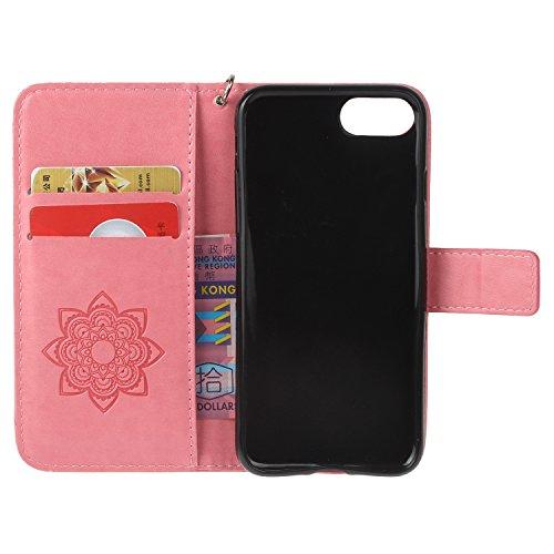 PU iPhone 7 Coque Bookstyle Hibou Étui Fleur Housse en Cuir Case à rabat pour Apple iPhone 7 (4.7 pouces) Coque de protection Portefeuille PU Case Cover (+Bouchons de poussière) (9) 12